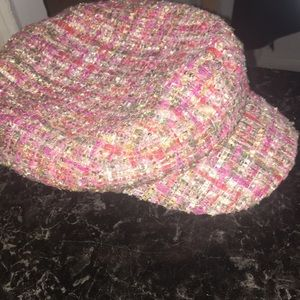 Accessories - Pink knitted preppy baker boy cap